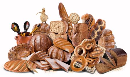 Variety of bread, bagels and buns. A composition made of many images. Isolated on a white background.
