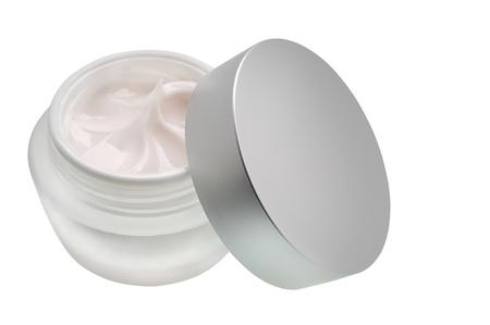 Tube of cream, white cream on a white background.