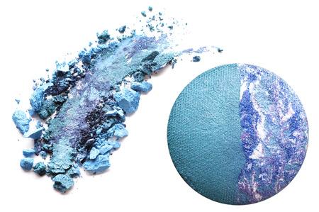 Crushed blue eyeshadow isolated on white background Stock Photo