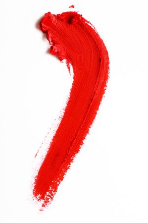 smear of red lipstick on a white background Standard-Bild