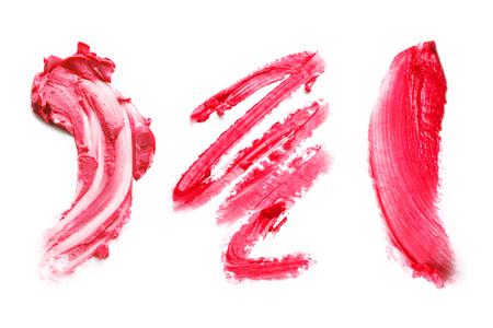 smear of red lipstick on a white background Stok Fotoğraf