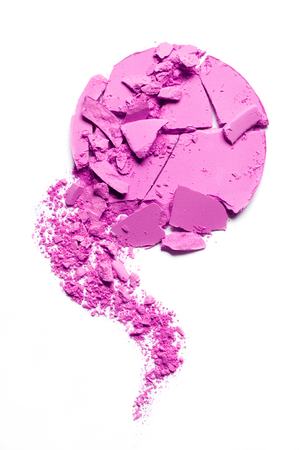Eyeshadow violet crushed and mixed isolated on a white background