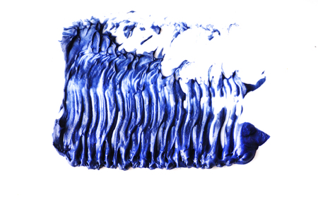 Blue color Mascara brush stroke on withe background
