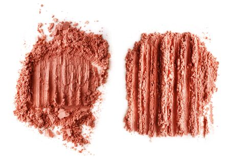 Crushed red powder isolated on white background