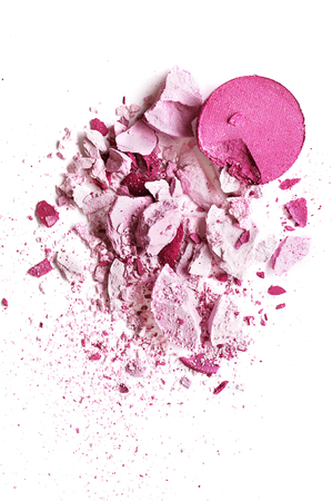 Eyeshadow pink crushed and mixed isolated