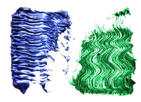 Blue green color Mascara brush stroke on withe background