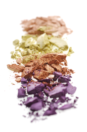 Eyeshadow  crushed and mixed isolated on on a white background Standard-Bild