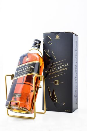 Kyiv, Ukraine - May, 2019. Bottle of Scotch Whisky Johnnie Walker Black Label 3000 ml