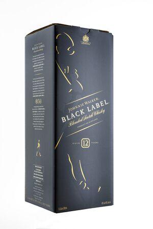 Kyiv, Ukraine - May, 2019. Box of Scotch Whisky Johnnie Walker Black Label