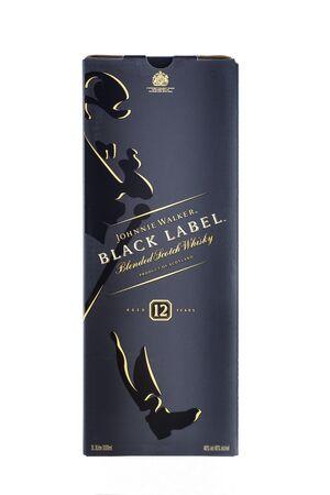 Box of Scotch Whisky Johnnie Walker Black Label on white background