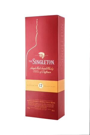 Kyiv, Ukraine - MAY 7, 2019: Bottle of Singleton of Dufftown, a brand of single malt scotch whisky produced by Dufftown distillery since 1895, now owned by Diageo.