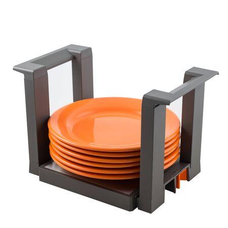 Kitchen storage of plates in the organizer