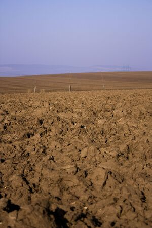 tillage: Ploughed field - tillage, agriculture, farming, land, spring Stock Photo