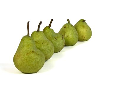 Row of five pears Stock Photo