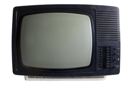 Old TV set - black and white, isolated