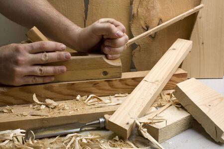 Taller de Carpintería con herramientas de madera - primer plano Foto de archivo - 5121319