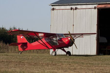 airplane ultralight: Small airplane on an airfield