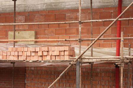 Construction of a brick house  Stock Photo