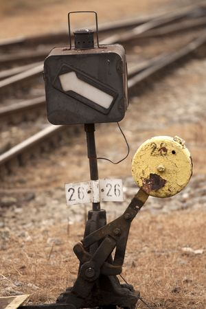 Vintage track switch by a railway  photo