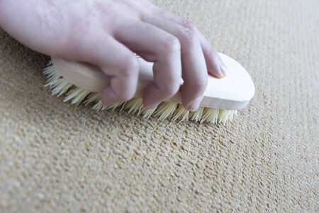 carpet clean: Cleaning floor at home by a brush Stock Photo