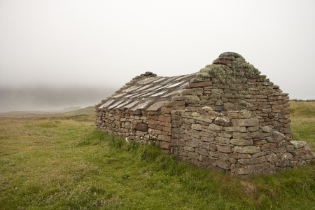 Hut of stone on an Orkney island