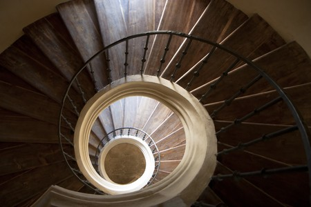 Spiral staircase viewed from above Stock Photo