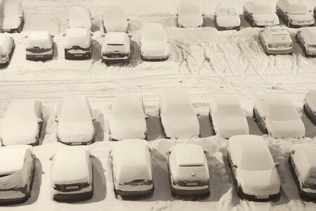 Car park under snow in the night Reklamní fotografie