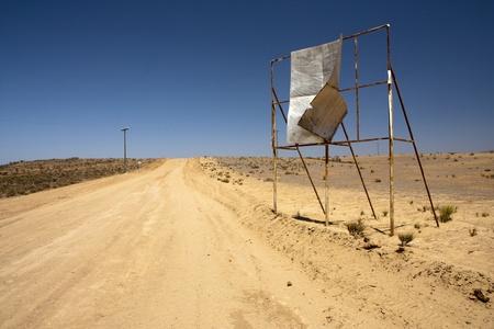 Broken billboard in desert - abandoned place Zdjęcie Seryjne