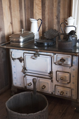 Vintage kitchen - stove and pots Stock Photo