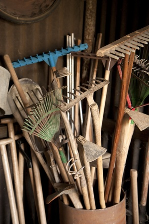 Tools in dark shed on a farm