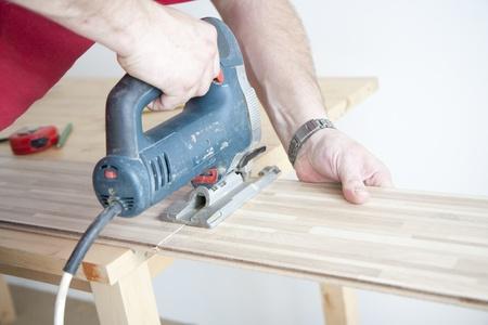 Fabrication de nouveau plancher stratifié à domicile Banque d'images