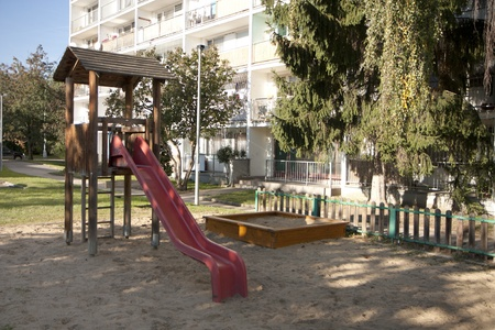 Children playground in a large city photo