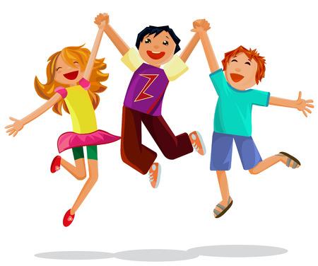 흰색 배경에 고립 된 손을 잡고 행복 점프 아이 벡터
