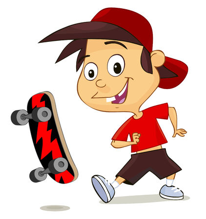 skater boy: cute cheerful boy playing with his skate isolated on white