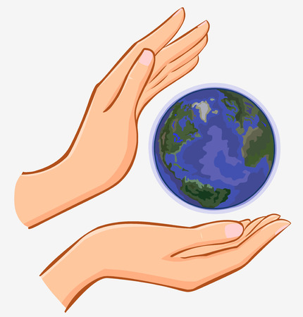 hand globe: vector hands and earth isolated on white background Illustration