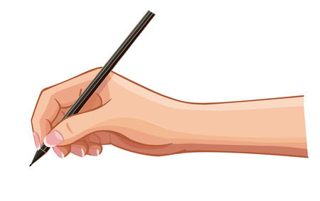 vector female hand with a pen wrote a message on a horizontal surface isolated on white