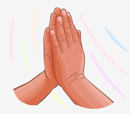 vector Praying Hands isolated on white Vector