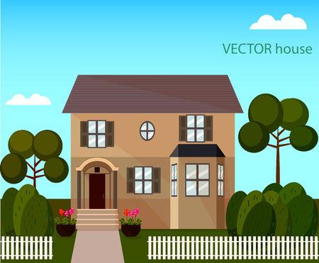 snug: landscape with beautiful house  Illustration