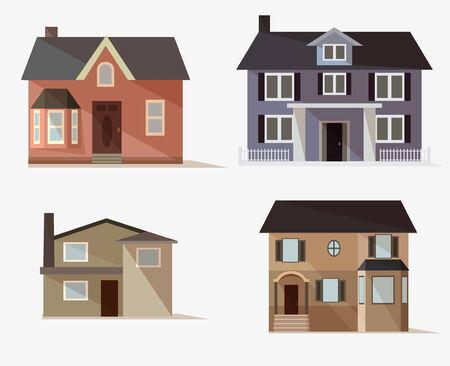 icone web vettoriale Set di case stilizzate Vettoriali
