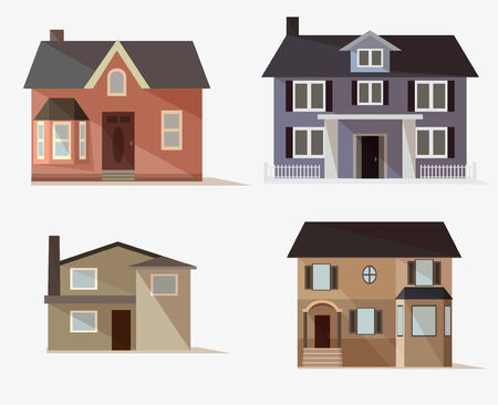 flat roof: vector web icons set of stylized houses