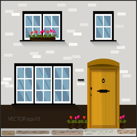 vector facade  with yellow door and windows  Vector