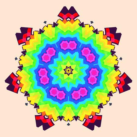 tantra: rainbow Mandala, vector icon,design element