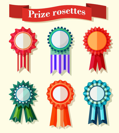 vector set of blank rosettes with stitched ribbons,Flat design Illustration