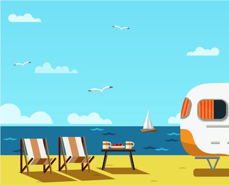 Retro caravan on the beach, summer vacation, vector illustration,retro background