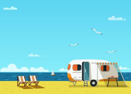 Retro caravan op het strand, zomer vakantie, vector illustratie, retro achtergrond