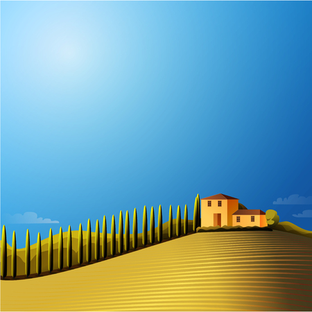 Vector sunny  landscape with farmhouse ,hills and meadow Çizim