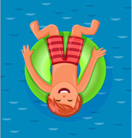 Boy resting on floating green rubber ring on swimming pool water. Summer rest. Sea vacation.