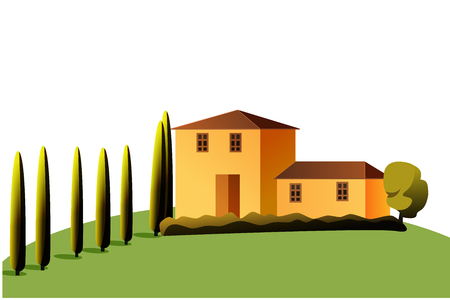 Vector Stylized illustration of a house in sunlight with tree