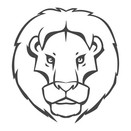 Lion logo-emblem design isolated on white background