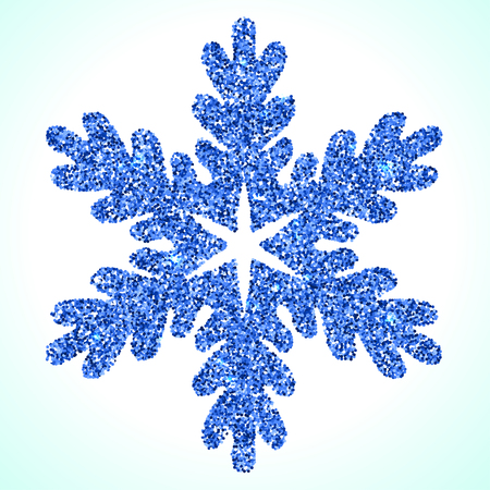 Vector blue shiny snowflake on white background